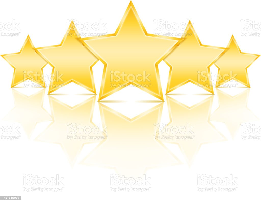 Five golden stars with a reflection on white royalty-free stock vector art