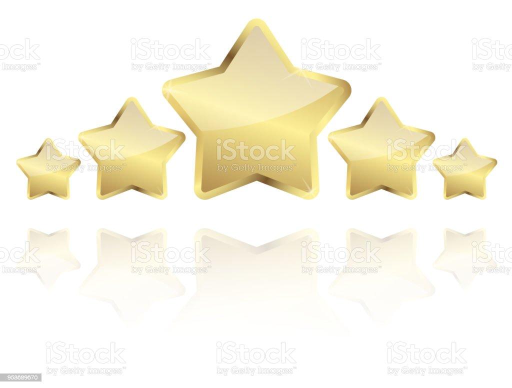 cinco estrellas de oro con la reflexión en una fila - ilustración de arte vectorial