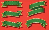 Five green gold rim ribbon banners against reg background