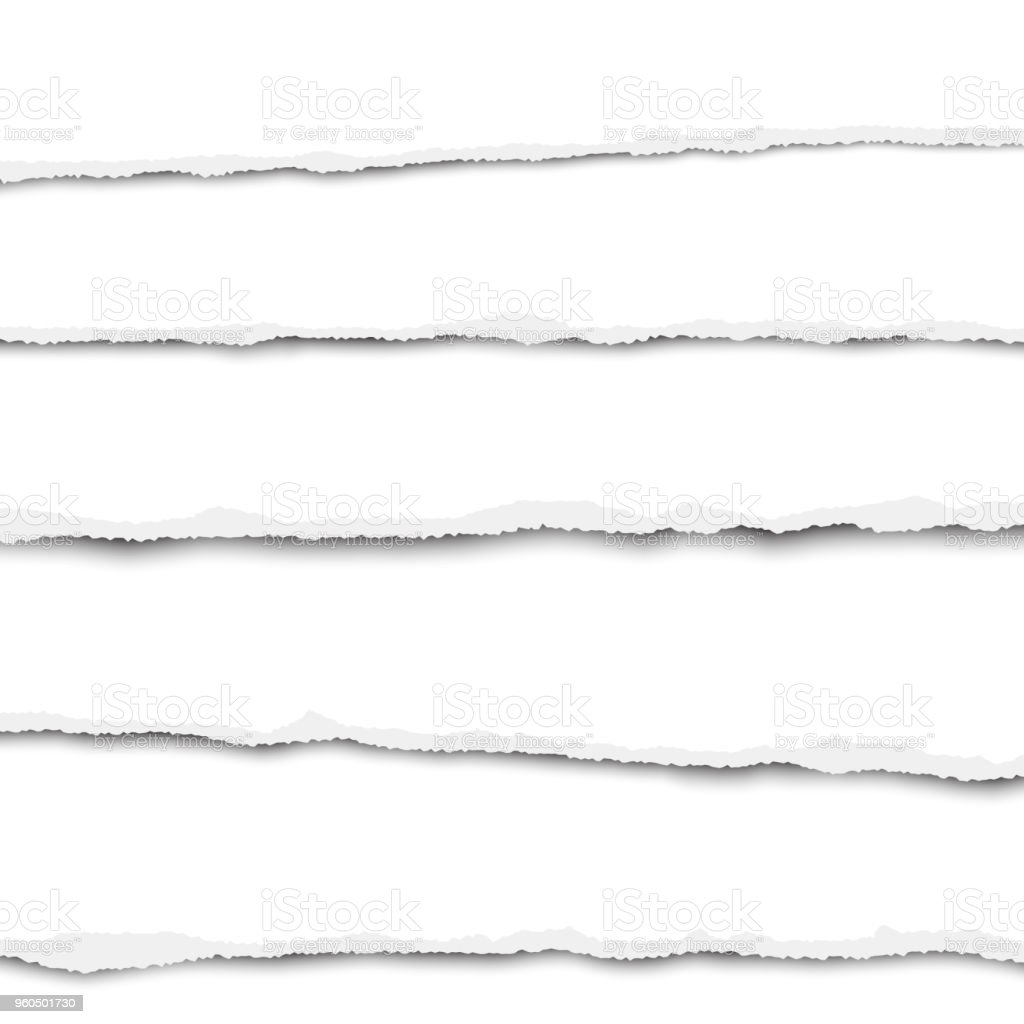 Five horizontal torn layers of white paper placed one under other with soft shadow. Vector illustration. vector art illustration