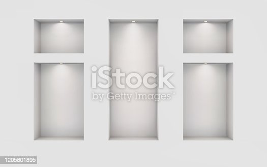 istock Five illuminated niches on a white wall. Place for an exhibition. Top view mockup template for design. Light effect on a separate layer. Vector. 1205801895