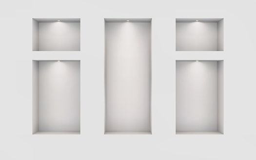 Five illuminated niches on a white wall. Place for an exhibition. Top view mockup template for design. Light effect on a separate layer. Vector.