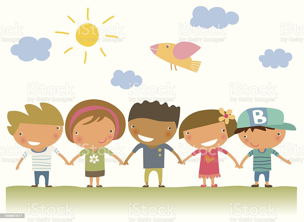Five illustrated children holding hands royalty-free stock vector art