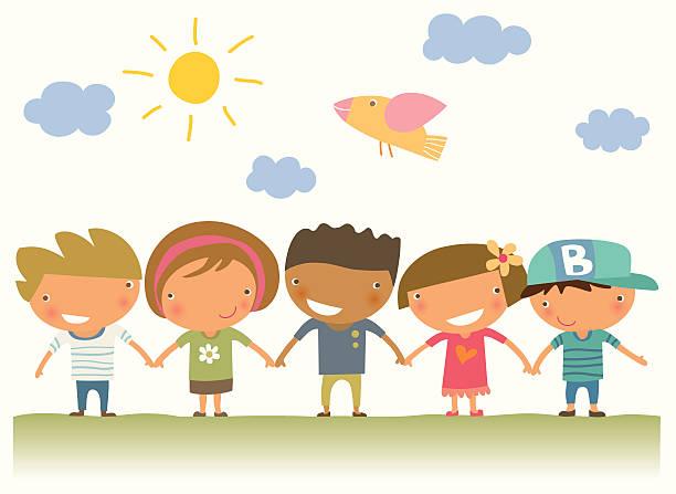 Five illustrated children holding hands vector art illustration