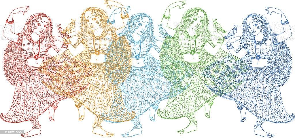 Five Indian Dancers vector art illustration