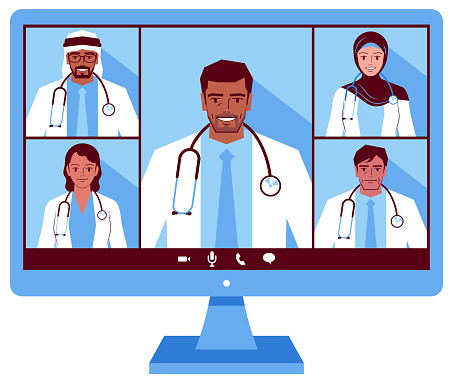 Five intelligent doctors (Middle Eastern Ethnicity) attending a video conference