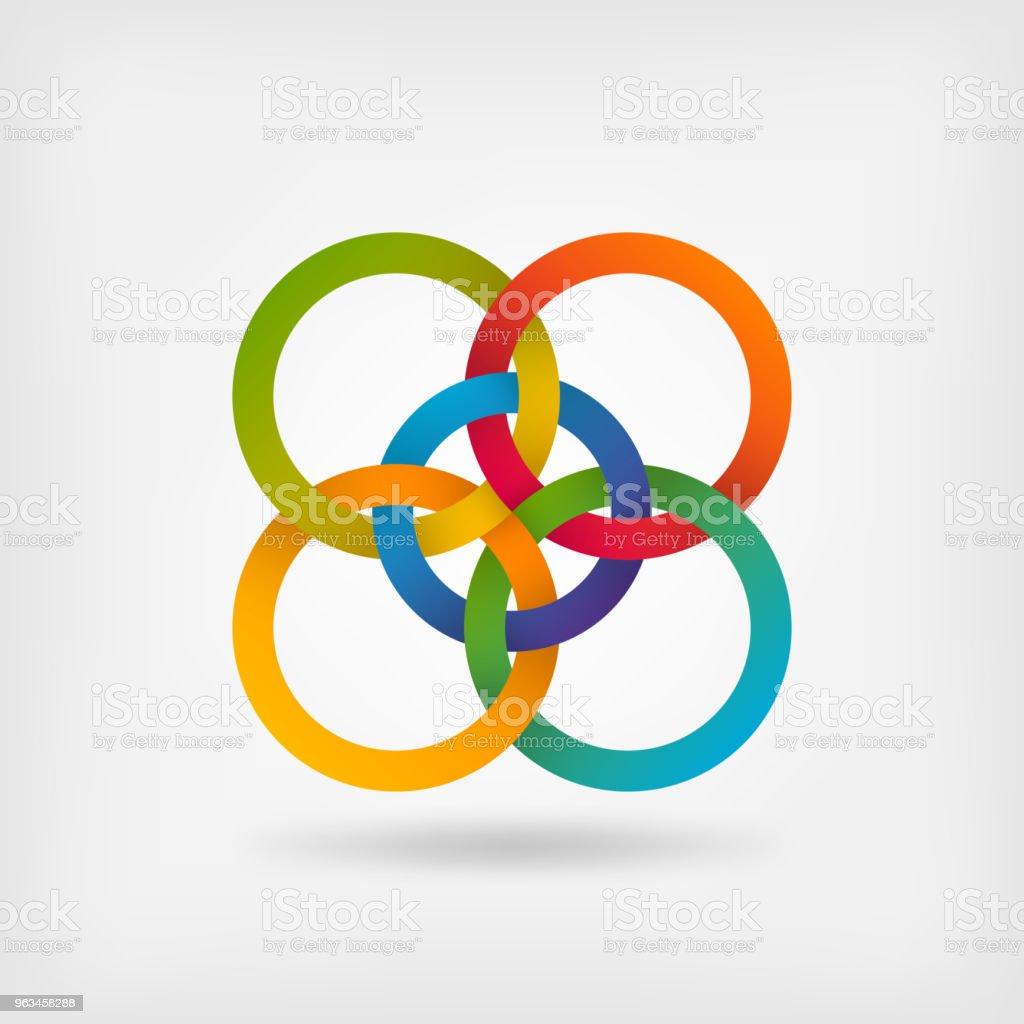 cinq cercles interverrouillées en couleurs dégradé arc-en-ciel - clipart vectoriel de Abstrait libre de droits