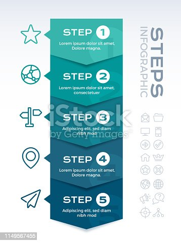 Five element arrow edge connecting showing process infographic concept.