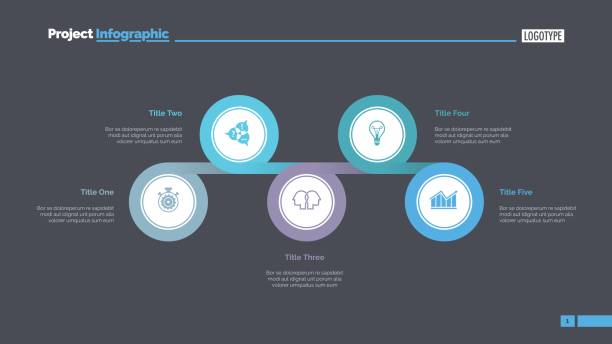 Five Linked Circles Slide Template Five circles process chart slide template. Business data. Point, diagram. Creative concept for infographic, presentation. Can be used for topics like consulting, planning. five people stock illustrations