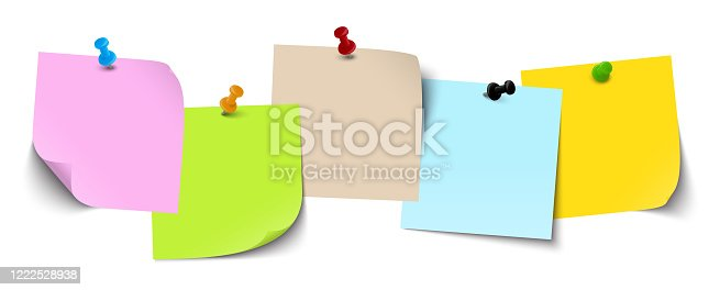 istock five little sticky papers with pins 1222528938