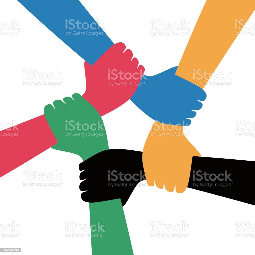 five men shaking hands vector art illustration