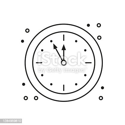 istock Five minutes before the New Year, clock icon on white background. 1284959810
