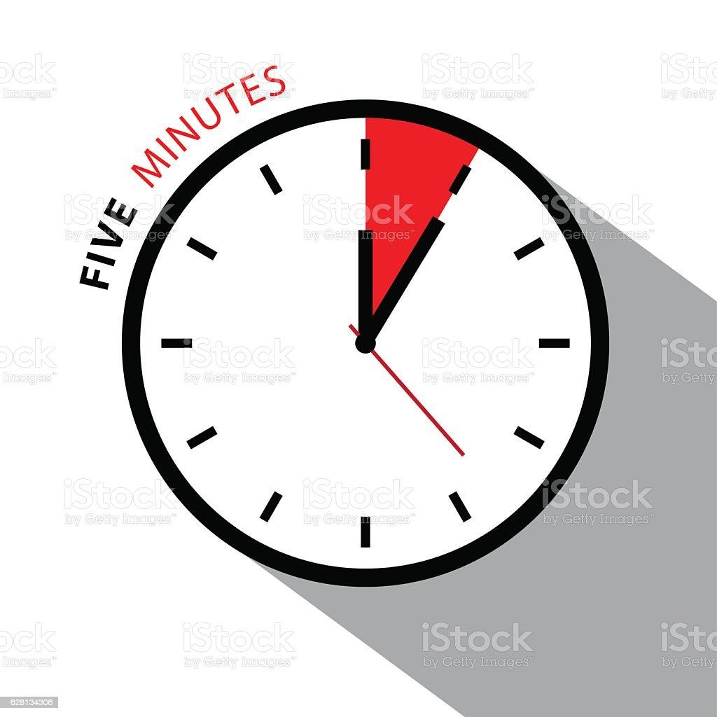Five Minutes Clock vector art illustration