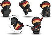 Five ninja cartoons with various weapons