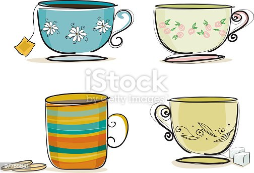 four cups of tea drawn in a stylish way