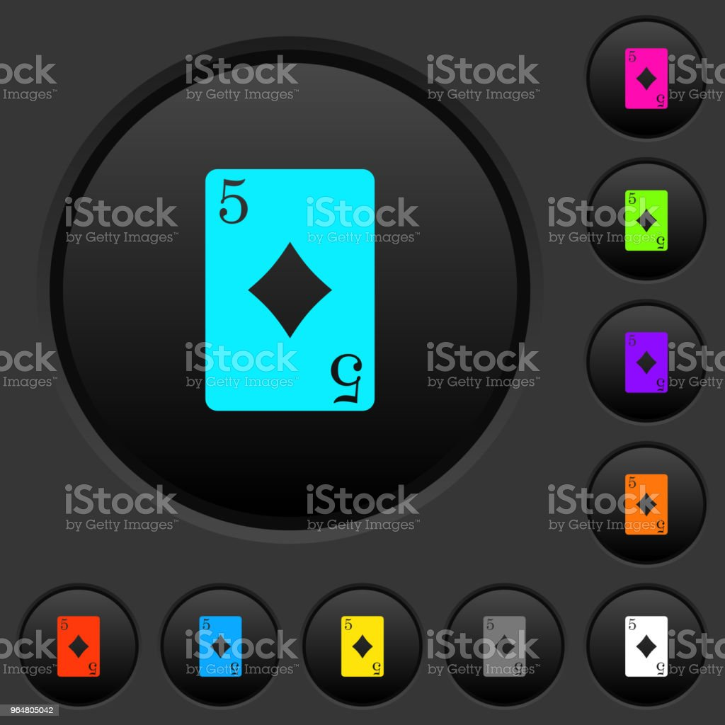 Five of diamonds card dark push buttons with color icons royalty-free five of diamonds card dark push buttons with color icons stock vector art & more images of addiction