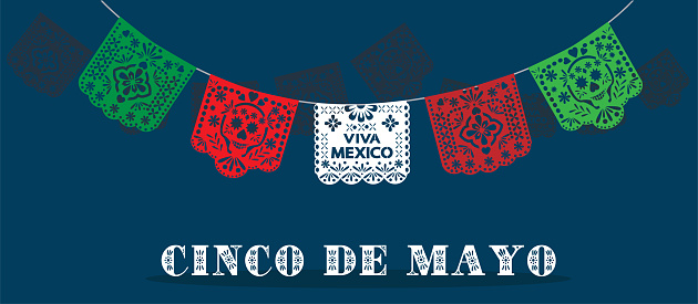 Five of May vector. Viva Mexico background illustration.