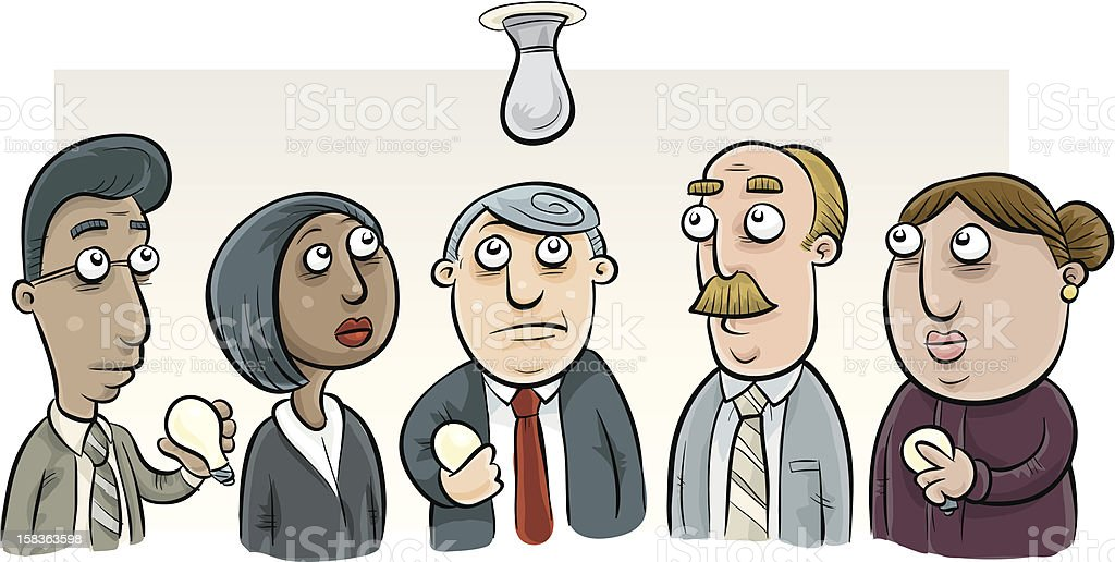 Five Office Workers Looking at Burnt Out Lightbulb royalty-free five office workers looking at burnt out lightbulb stock vector art & more images of adult