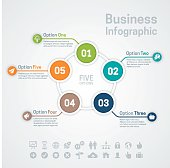 Business infographic circle options or diagram with five options, space for your text and extra icons and symbols. EPS 10 file. Transparency effects used on highlight elements.