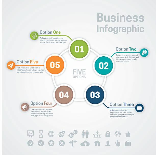 fünf option business infographic - einzelnes tier stock-grafiken, -clipart, -cartoons und -symbole