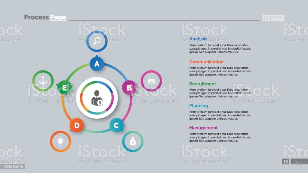 Five Options Circles Slide Template royalty-free five options circles slide template stock illustration - download image now
