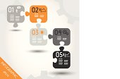 five orange infographic puzzle with business icons. infographic concept.