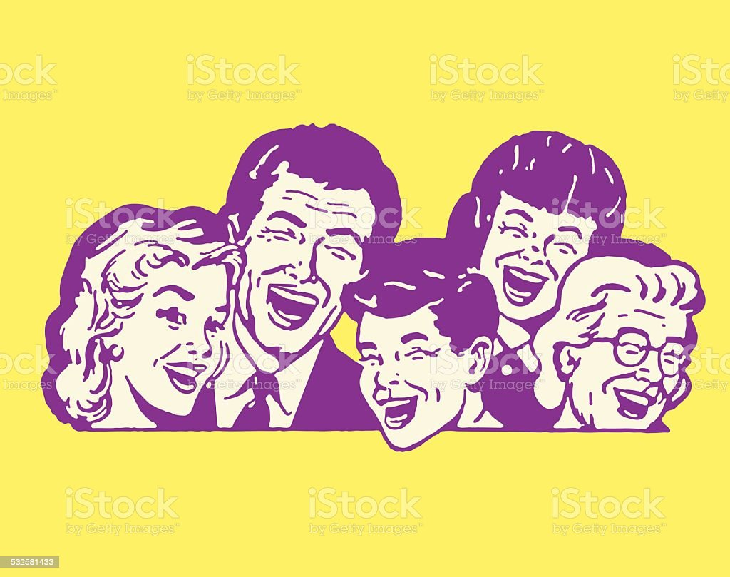 Five People Laughing vector art illustration