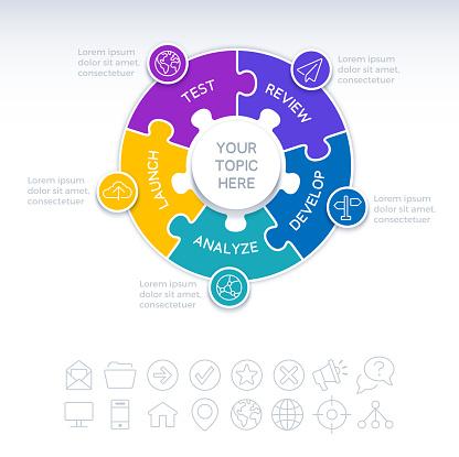 Five Piece Circle Puzzle Infographic Element
