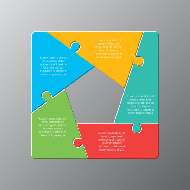 ilustrações de stock, clip art, desenhos animados e ícones de five pieces puzzle jigsaw squares infog raphic. - inteiro