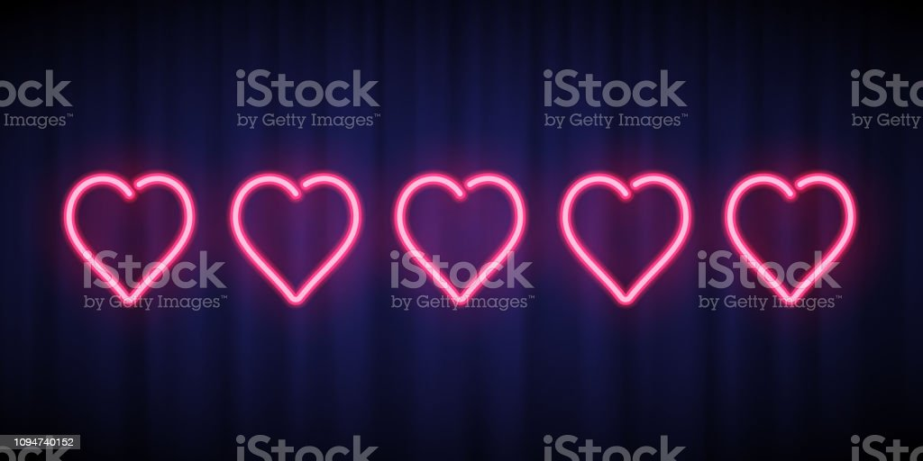 Download Five Pink Neon Hearts Rating Design Element Isolated On ...