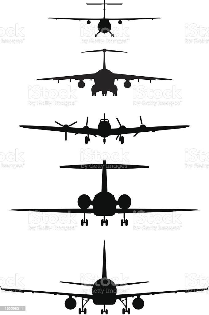 Cinco de los aviones desde la parte delantera ilustración de cinco de los aviones desde la parte delantera y más banco de imágenes de avión libre de derechos