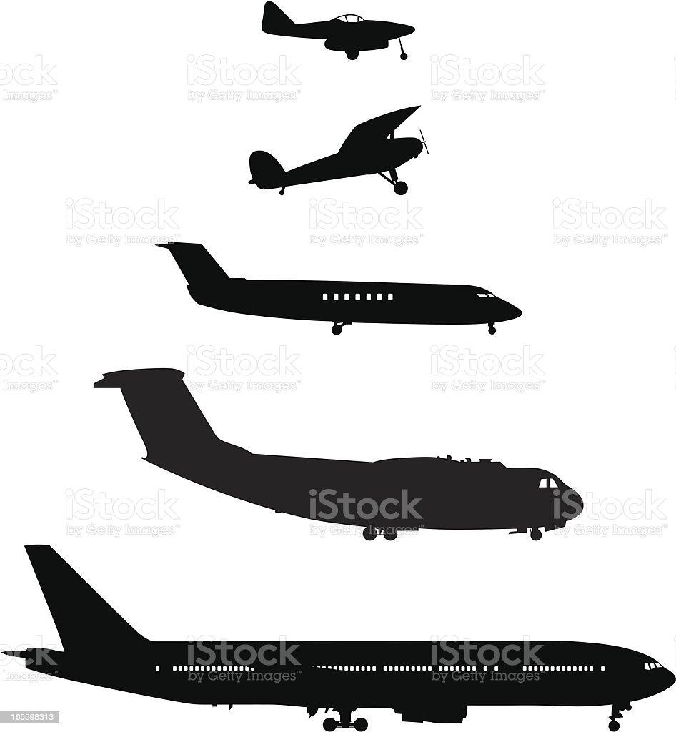Cinco de los aviones desde el lateral ilustración de cinco de los aviones desde el lateral y más banco de imágenes de avión libre de derechos