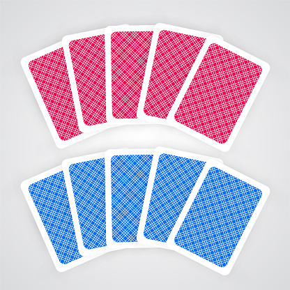 Five Playing Cards Vector Set In Blue And Red Colors ...