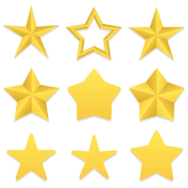 five point stars collection - acute angle stock illustrations