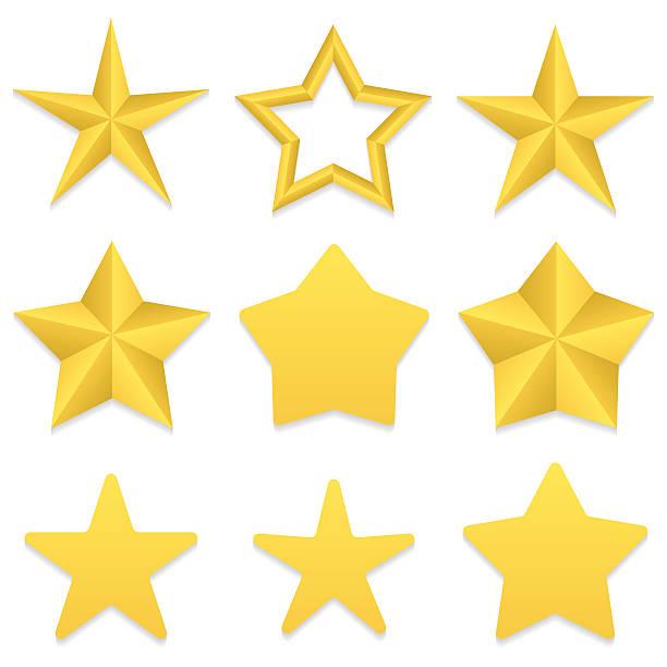 bildbanksillustrationer, clip art samt tecknat material och ikoner med five point stars collection - spetsig vinkel
