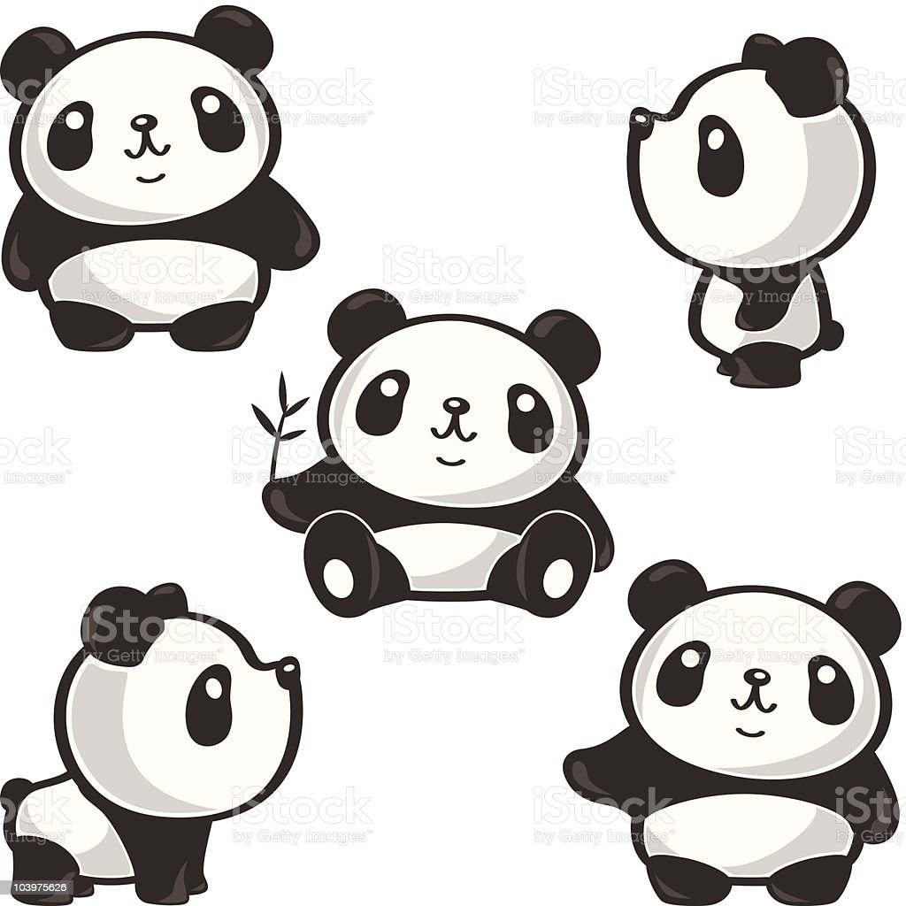 five poses of panda stock vector art   more images of cute giraffe clipart cute giraffe clipart black and white