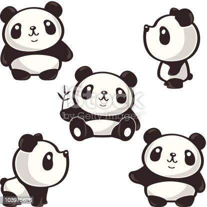 istock Five poses of panda 103975626
