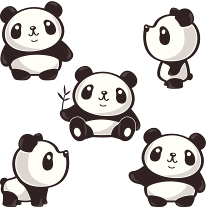 Five poses of panda