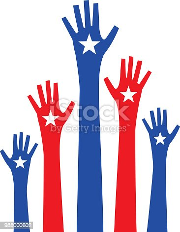 istock Five Raised Hands With Stars 988000602
