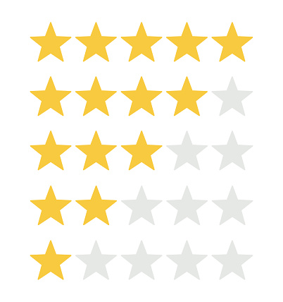 Five rating stars icon for review product,internet website and mobile application on white backgrond vector