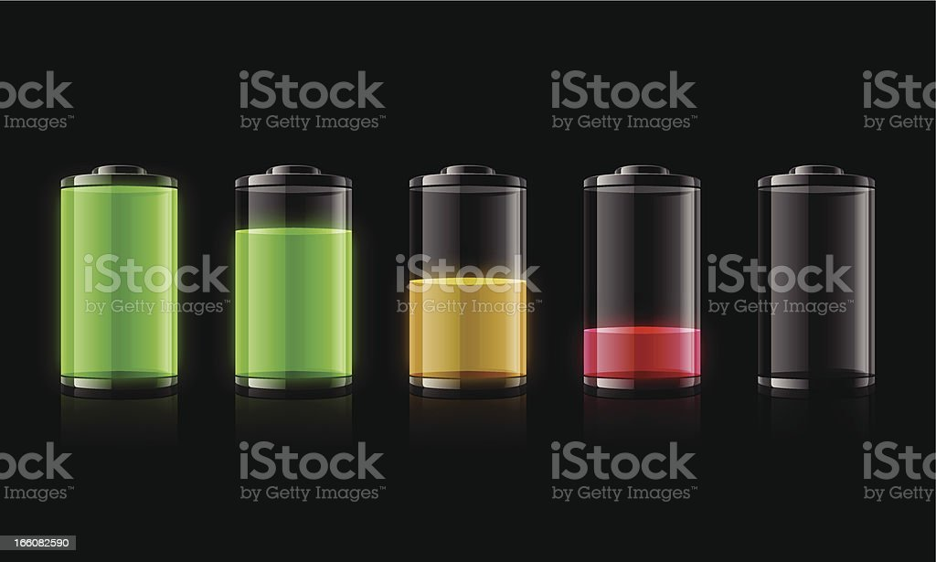 Five representations of battery charge from full to empty vector art illustration