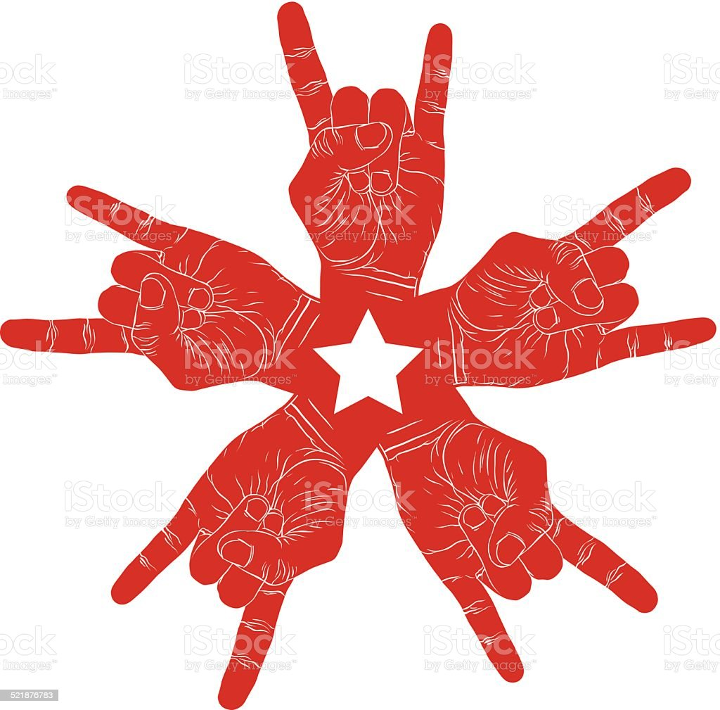 Five rock hands abstract symbol with five point star, red vector...