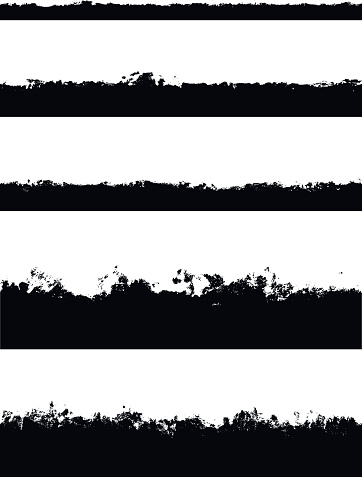 Five seamless borders isolated on white background. Perfect for creating strokes on edges of shapes to make jagged edges. Carefully grouped in layers panel.