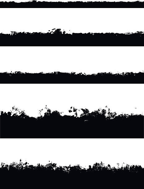 five seamless borders isolated on white - pürüzlü stock illustrations