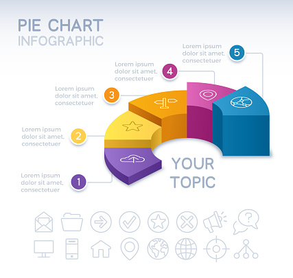 Pie chart 3D infographic isometric five 5 option pie chart info and data design.