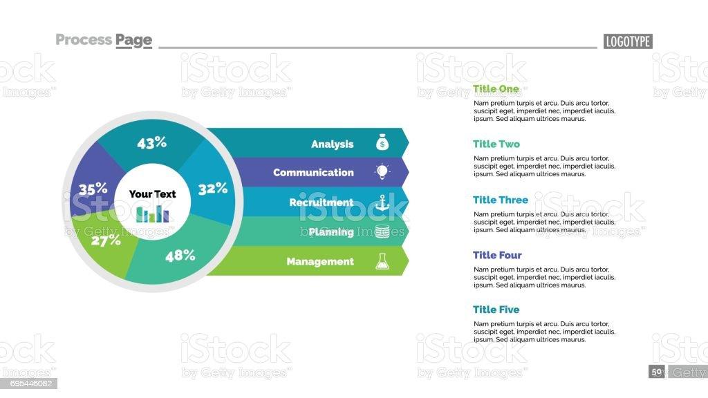 Five Sector Percentage Pie Chart Slide vector art illustration