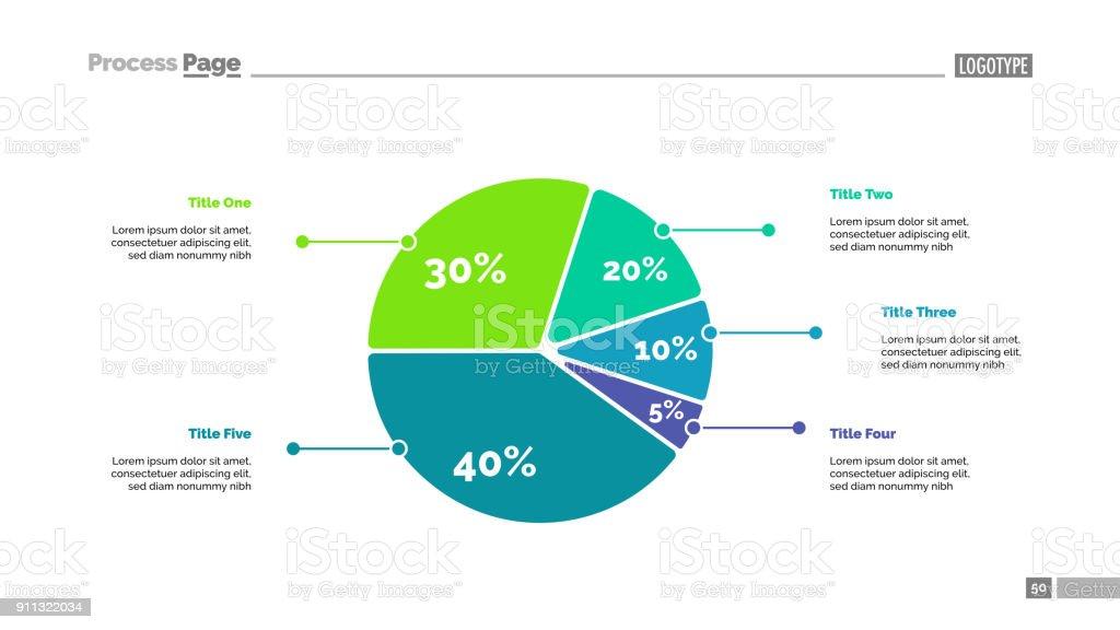Five Sectors Pie Chart Slide Template vector art illustration