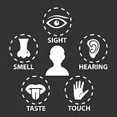 Five senses icon set. Vector illustration.Human organs