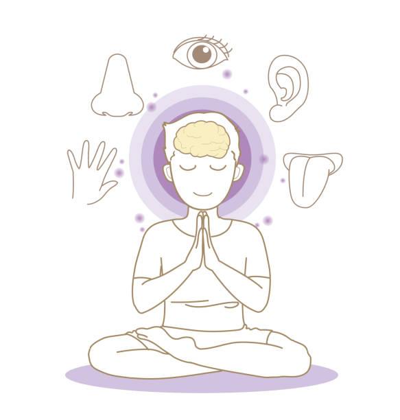 fünf sinne bild - yoga pose - mann - sensorischer impuls stock-grafiken, -clipart, -cartoons und -symbole
