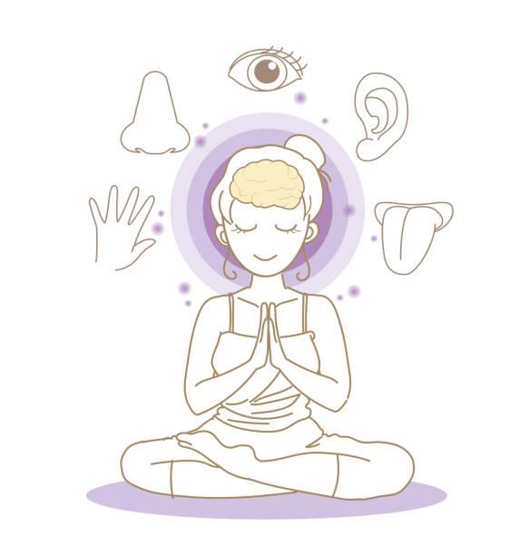 fünf sinne bild - yoga pose - frau - sensorischer impuls stock-grafiken, -clipart, -cartoons und -symbole